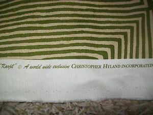 1 1/3 Yards Christopher Hyland - KARJIL - Green and Tan - Designer Upholstery Fa