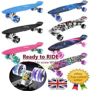 """22"""" Skateboard Adult & Kids Skateboard Beginners Penny Cruiser LED Skateboard UK"""