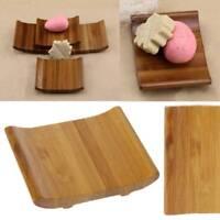 Bamboo Wood Soap Dish Holder Bathroom Shower Stand Plate Storage Box Rack