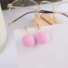 Fashion Jewelry Fur Ball PomPom Earring Long Dangle Drop Ear Stud Women Charm