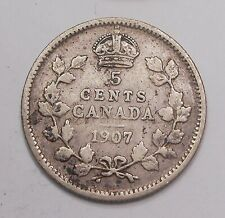 1907 Five Cents SILVER VG-F ** King Edward VII Affordable OLD Canada Half Dime