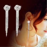 Dangle Drop Clip on Earrings Crystal Women Girls Clip-on Silver Tassle Bridal ID