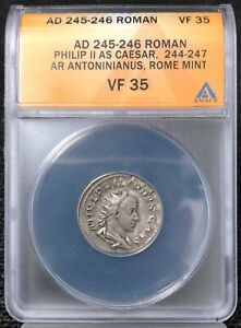 AD245-246 ANACS VF35 Roman Philip II As Ceasar, Rome Mint NH595