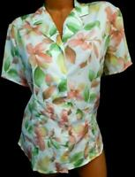 Alfred dunner white multi color floral crinkle women's plus size career top 16