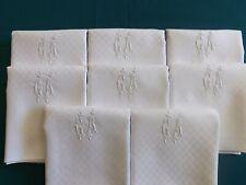 8 grandes serviettes en pur fil de lin, mono G A, anciennes