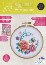 CROSS STITCH KIT WITH WOODEN HOOP- CIRCULAR FLOWERS