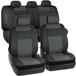 Synthetic Leather Car Seat Covers - Black/Charcoal Gray Full Set Protection
