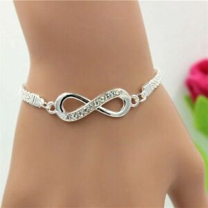 Rhinestone Fashion Jewelry Silver Plated Infinity Love Bracelet Lovely Gift  Hot
