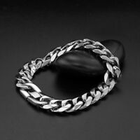 "New Arrive Men Boy Silver Hip Hop Stainless Steel Curb Link Chain Bracelet 9"""