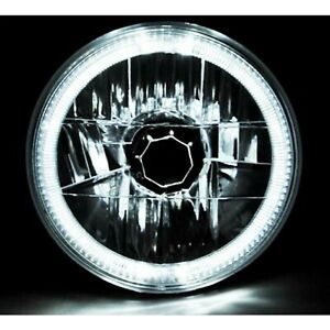"7"" Halogen H4 Headlight Headlamp White LED Halo Angel Eyes Light Bulb 12 Volt"