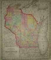 Vintage 1860 DESILVER MAP ~ WISCONSIN Old Antique & Authentic Atlas Map