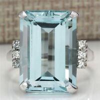 Women Fashion Alloy Emerald Cut Blue Aquamarine Wedding Jewelry Ring Size 6-10