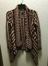 Wet Seal Women's Open Front Cardigan Burgundy/Tan L Sleeve Geo Print Size Large