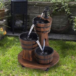 Outsunny Holzfass-Brunnen mit Wasserpumpe Kaskadenbrunnen ZImmerbrunnen
