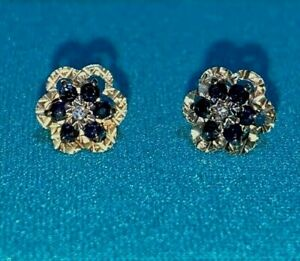 Vintage 9ct Yellow Gold Blue Sapphire & Diamond Pierced Post Earrings UK Hallmkd