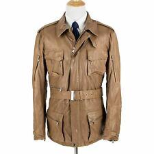 NWOT Ralph Lauren Black Label Cognac Leather Epaulet Belted Field Jacket XXL