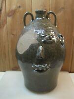 "Large 18"" Tall Dwayne Craig Folk Art Pottery Face Head Jug B2623"