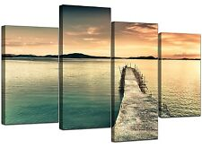 Large Sunset Canvas Wall Art Pictures Blue Prints Set Pier Jetty 4108