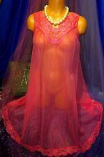 50's Vintage Peignoir Sweep Nylon Gown Sheer Coral Chiffon Victorian Lace S M L