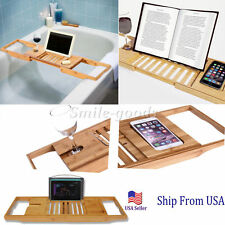 Bamboo Over Bath Rack Tidy Tub Shower Caddy Tray Bath Storage Stand Shelf Holder