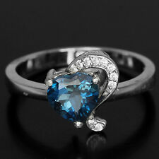 Sterling Silver 925 Genuine Heart Faceted London Blue Topaz Ring Size P.5 US 8