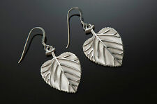 Sterling Silver High Relief, Hand Finished and Unique Aspen Leaf Earrings