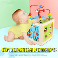 5 in 1 Wooden Activity Cube Kids Baby Bead Maze Educational Toys Learning Puzzl