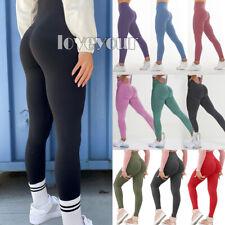 Mujeres Cintura Alta Yoga Pantalones Leggings de elevación Trasero Entrenamiento Ejercicio Elástico Fruncido Q
