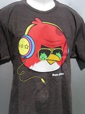 Men's Charcoal gray Angry Birds headphones T-Shirt. Size XL New with Tags NWT