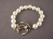 White plastic faux pearl Anchor Boat Nautica Boating pendant bracelet size small
