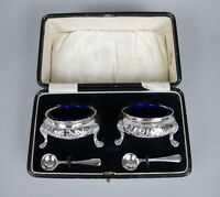 Pair of Large Silver Salt Cellars by Robert Harper, London, 1865. Original Case.
