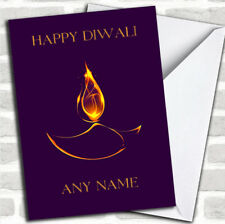Purple Flame Customized Diwali Greetings Card