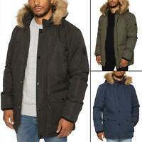 Mens Parka Faux Fur Trimmed Jacket Padded Coat Hooded Winter Warm Long Outerwear