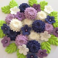 PURPLE LILAC CREAM CHRYSANTHEMUMS Edible Sugar Paste Flowers Cupcake Decorations