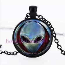 Metal Alien Head  Photo Cabochon Glass Black Chain Pendant Necklace
