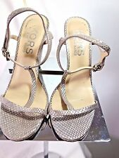 Michael Kors Kami T Strap Metallic Silver Open Toe Leather Wedge Sandal -7 1/2