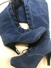 "Lace Uo Over The Knee Boots 9 Royal Blue Faux Suede Black Low Med 3"" Kitten Heel"