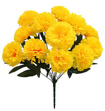 12 Carnations ~ YELLOW ~ Long Stems Silk Wedding Flowers Bouquets Centerpieces