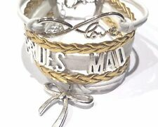 Rope Braided Infinity Love Brides Maid Bracelet w Ribbon charm