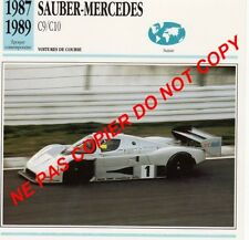 SAUBER-MERCEDES 1987 C9 V8 TURBO COURSE SUISSE Switzerland Schweiz FICHE AUTO