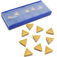 10Pcs Triangular Tungsten Gold Carbide Tips Inserts Tool TPMR 110304 With Box