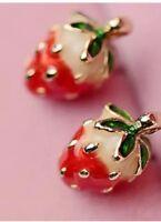 Betsey Johnson STRAWBERRY FESTIVAL Red Crystal Gold Earrings Gift Box / Bag