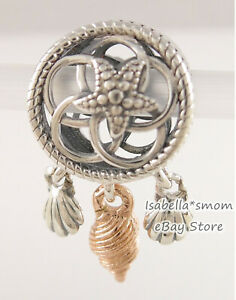 SEASHELL DREAMCATCHER Genuine PANDORA Silver/Rose DANGLE Charm 788944C00 w POUCH