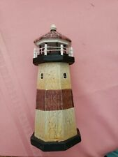 """Lighthouse Decor - free standing wooden with rustic colors and finish- 7""""H x 3""""W"""