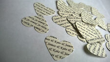 150 Personalised Wedding Heart Table Confetti Vintage Cream Ivory Bride & Groom