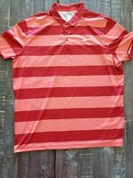 Nike Golf Dri-Fit Men's Red Striped Golf Polo Shirt Sz XXL 2XL Standard Fit EUC