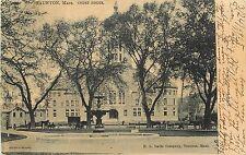Vintage Postcard Bristol County Courthouse Through Trees & Fountain Taunton MA
