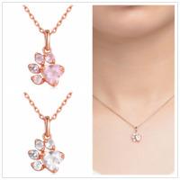 Woman Crystal Rhinestone Dog Cat Paw Claw Pendant Chain Necklace Charm Jewelry