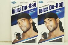 Set of 2 Black Smooth & Thick / Shiny & Silky Deluxe Du Rag Durag KT16B2