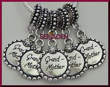 5 Grandmother with Clear Stone Charm Dangles Fits European Style Bracelets R136